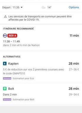 Les nouveautés de Google Maps pour se déplacer plus sereinement malgré le coronavirus