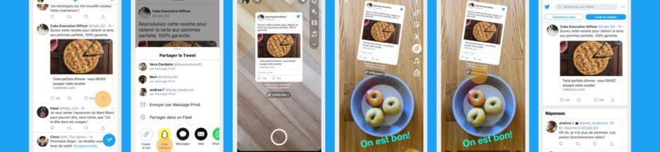 Snapchat, partage de tweets sur le reseau social comme sur Twitter